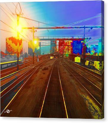 The Past Train 2 Square Canvas Print