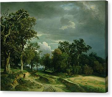 The Path On The Edge Of The Wood Canvas Print by Johann Wilhelm Schirmer