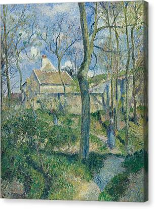The Path To Les Pouilleux Pontoise Canvas Print by Camille Pissarro