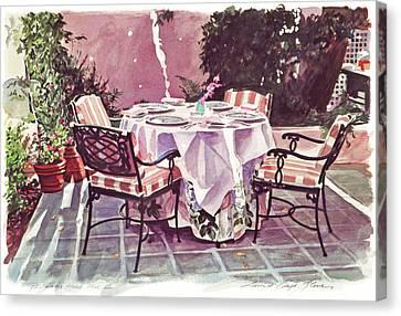 Canvas Print - The Patio - Hotel Bel-air  by David Lloyd Glover