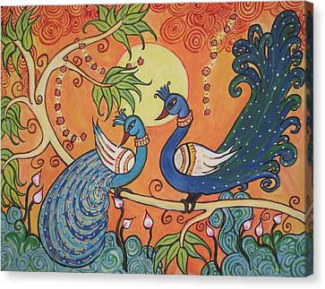 The Peacocks Canvas Print by Deepa Padmanabhan
