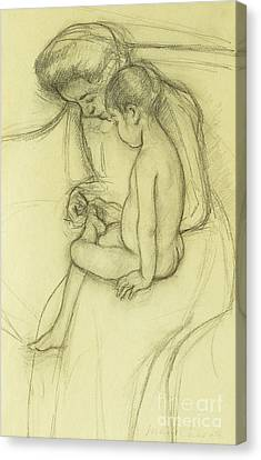 Caring Mother Canvas Print - The Pedicure by Mary Stevenson Cassatt