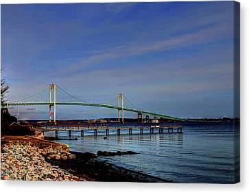 Canvas Print featuring the photograph The Pell Bridge Newport Ri by Tom Prendergast