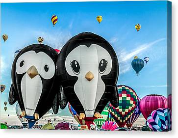 Puddles And Splash - The Penguin Hot Air Balloons Canvas Print