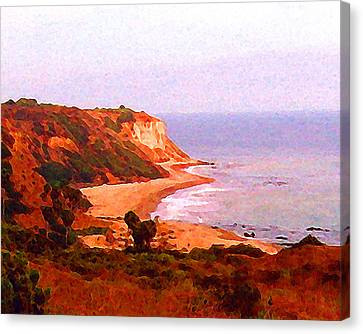 Canvas Print featuring the digital art The Peninsula by Timothy Bulone