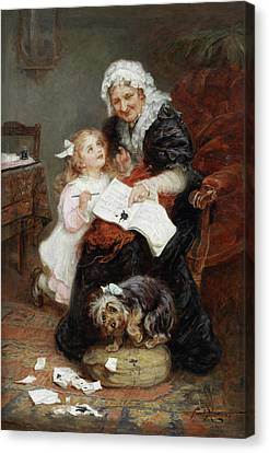 The Penitent Puppy Canvas Print by Fred Morgan