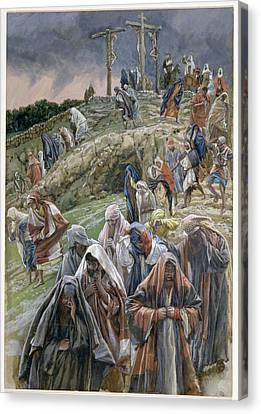The People Beholding The Things That Were Done Smote Their Breasts Canvas Print by Tissot