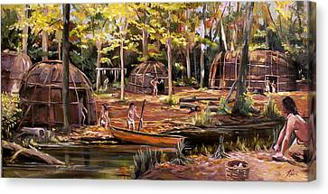 Canvas Print featuring the painting The Pequots by Nancy Griswold