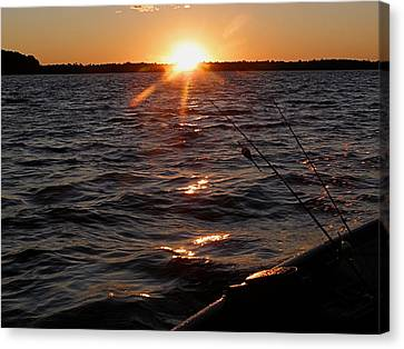 Canvas Print featuring the photograph The Perfect Ending - After A Good Day Of Fishing by Angie Rea