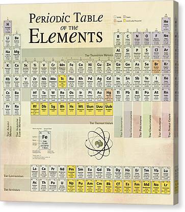 Canvas Print featuring the digital art The Periodic Table Of The Elements by Gina Dsgn