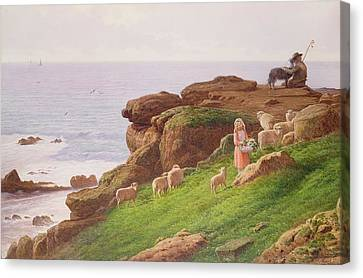 The Pet Lamb Canvas Print by J Hardwicke Lewis