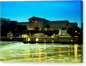 The Philadelphia Art Museum And Waterworks At Night Canvas Print by Bill Cannon