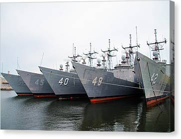 Canvas Print featuring the photograph The Philadelphia Navy Yard by Bill Cannon