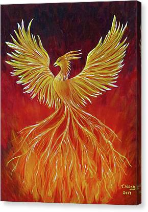 Canvas Print featuring the painting The Phoenix by Teresa Wing