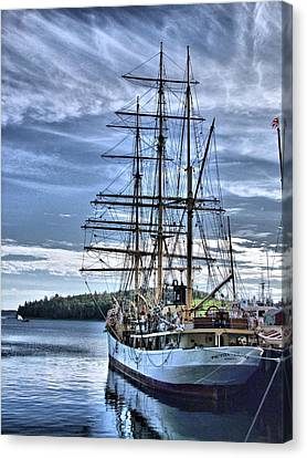 The Picton Castle Docked In Lunenburg Canvas Print by George Cousins
