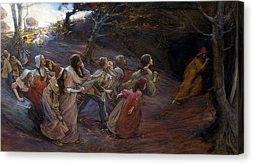 The Pied Piper Of Hamelin Canvas Print by Elizabeth Adela Stanhope Forbes