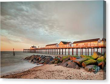 The Pier At Sunrise 2 Canvas Print by Colin and Linda McKie