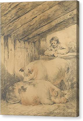 The Pig Sty Canvas Print by George Morland