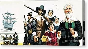 The Pilgrim Fathers Arrive In America Canvas Print