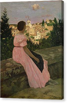 The Pink Dress Canvas Print by Jean Frederic Bazille