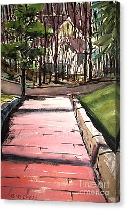 The Pink Road Off S Broadway Matted Glassed Canvas Print
