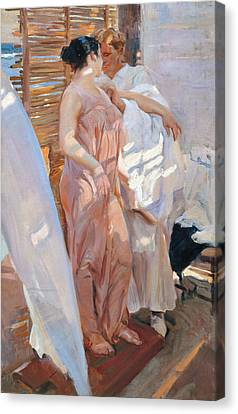 The Pink Robe After The Bath Canvas Print by Joaquin Sorolla