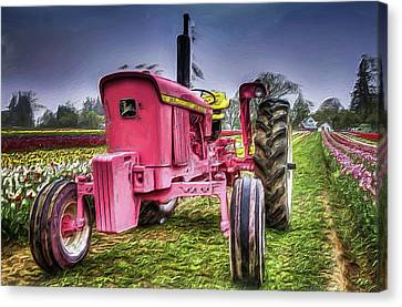 Canvas Print featuring the photograph The Pink Tractor At The Wooden Shoe Tulip Farm by Thom Zehrfeld