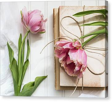 Canvas Print featuring the photograph The Pink Tulips by Kim Hojnacki