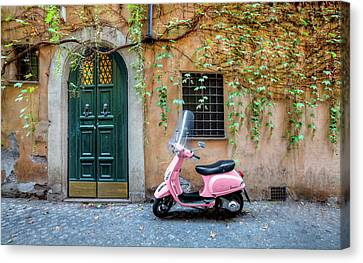 The Pink Vespa Canvas Print by Al Hurley