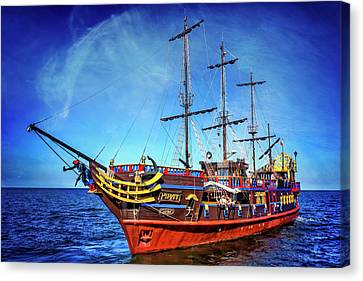 Tall Ship Canvas Print - The Pirate Ship Ustka In Sopot  by Carol Japp