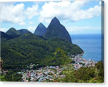 Canvas Print featuring the photograph The Pitons, St. Lucia by Kurt Van Wagner