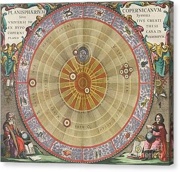 World System Canvas Print - The Planisphere Of Copernicus Harmonia by Science Source