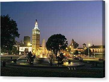 The Plaza In Kansas City, Mo, At Night Canvas Print by Michael S. Lewis