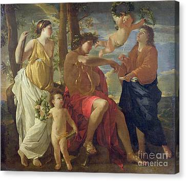 The Poets Inspiration Canvas Print by Nicolas Poussin