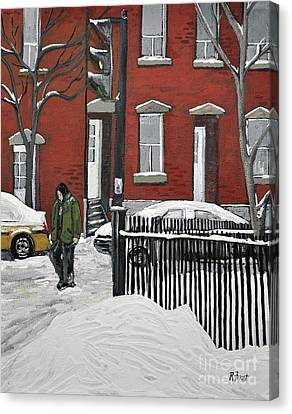 Montreal Winter Scenes Canvas Print - The Point by Reb Frost