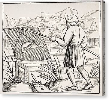 The Pond Fisherman. 19th Century Copy Canvas Print by Vintage Design Pics