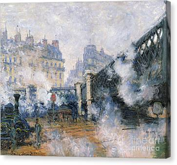 The Pont De Leurope Gare Saint Lazare Canvas Print by Claude Monet