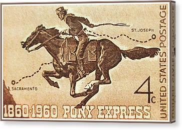 The Pony Express Centennial Stamp Canvas Print by Lanjee Chee