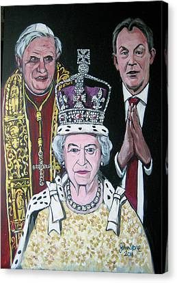 The Pope The Queen And The Politician Canvas Print by Ray Johnstone