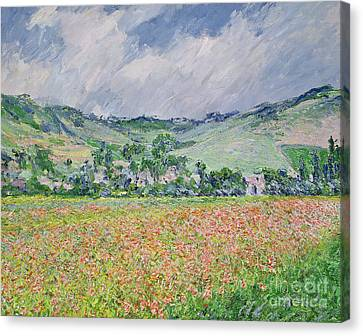 The Poppy Field Near Giverny Canvas Print by Claude Monet
