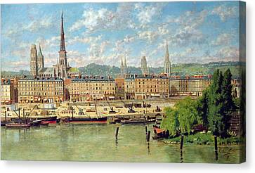 Port Town Canvas Print - The Port At Rouen by Torello Ancillotti