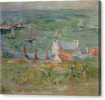 Rooftop Canvas Print - The Port Of Gorey On Jersey by Berthe Morisot
