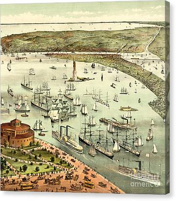 The Port Of New York, Birds Eye View From The Battery, Looking South, Circa 1892 Canvas Print