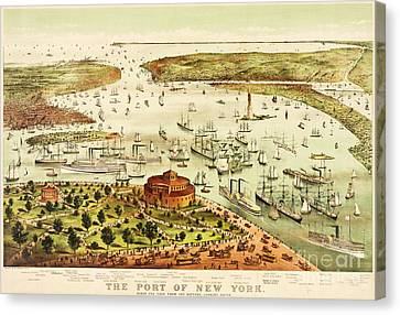 The Port Of New York Harbor Canvas Print by Pg Reproductions