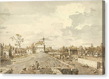 The Porta Portello With The Brenta Canal In Padua Canvas Print by Canaletto