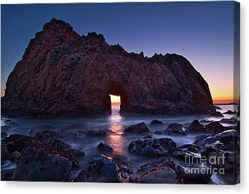 Pfeiffer Canvas Print - The Portal - Sunset On Arch Rock In Pfeiffer Beach Big Sur In California. by Jamie Pham