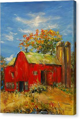 The Porter Barn In Red  Canvas Print by Ann Bailey