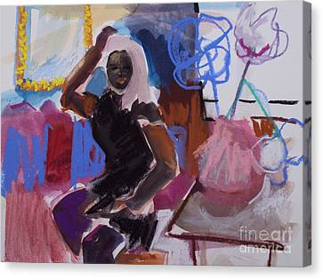 Canvas Print featuring the painting The Pose by Diane Ursin