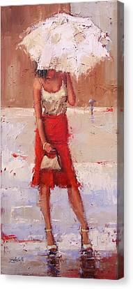 Canvas Print featuring the painting The Pose by Laura Lee Zanghetti