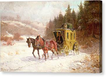 Winter In The Country Canvas Print - The Post Coach In The Snow by Fritz van der Venne